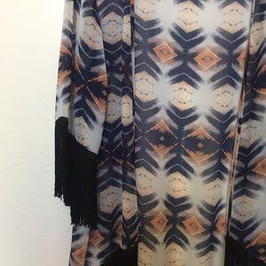 Long fringed kimono